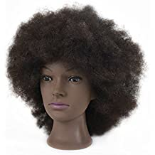 """Afro Mannequin Head 100% Human Hair 8""""Cosmetology Manikin Training Head with Free Clamp"""