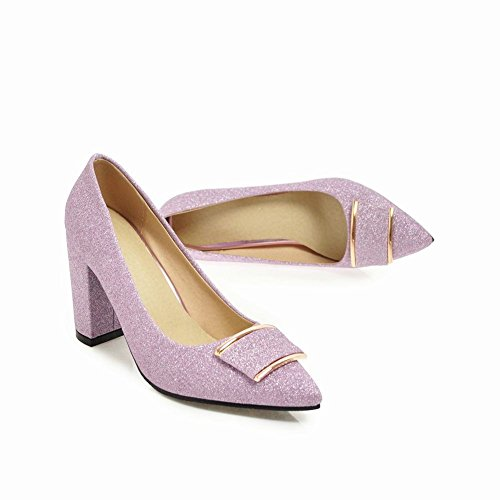 Mee Shoes Damen Chunky Heels Pailletten Spitz Pumps Lila