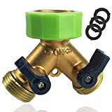 Pexio Professional Garden Hose Connector, Hose Splitter 2 Way with Comfortable Rubberized Grip, Body Made of Copper.
