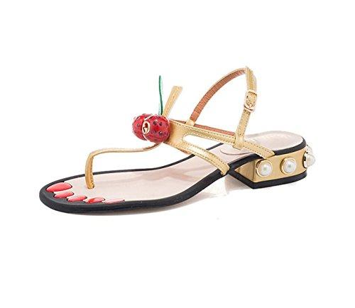de Zapatillas Clip DANDANJIE Cereza Zapatos 5 tacón para de Verano Dedo pie Mujer caseros del Pearl 3 Sandalias Cm con Oro Sandalias de g55qA
