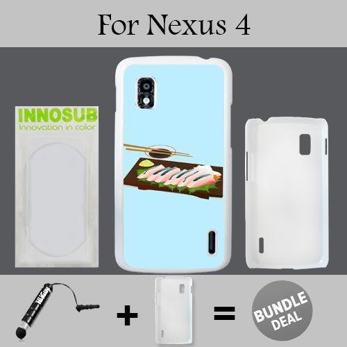 Japanese Sushi Wasabi Custom LG Nexus 4 Cases-White-Plastic,Bundle 2in1 Comes with Custom Case/Universal Stylus Pen by innosub - 4 Wasabi