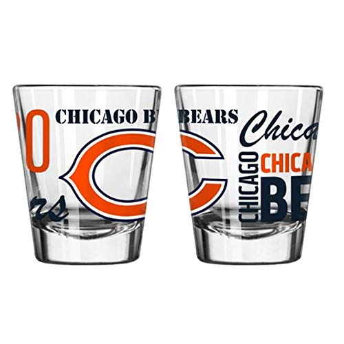 Official Fan Shop Authentic NFL Logo 2 oz Shot Glasses 2-Pack Bundle. Show Team Pride at Home, Your Bar or at The Tailgate. Gameday Shot Glasses for a Goodnight (Chicago Bears - Spirit Shot) ()