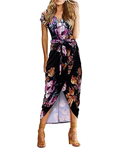 VIUVIU Women's Casual Loose Summer V Neck Short Sleeve Pleated Asymmetrical Split Maxi Dresses with Belt (S, Print-Black)