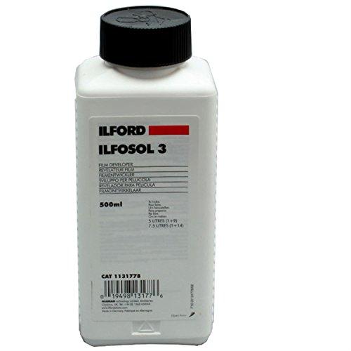 Ilford Ilfosol-3 General Purpose Developer for Black & White Film, Liquid Concentrate 500 Milliliter Bottle.