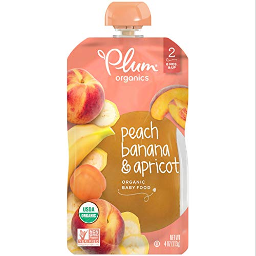 Plum Organics Stage 2, Organic Baby Food, Peach, Banana and Apricot, 4 Ounce (Pack of 6)