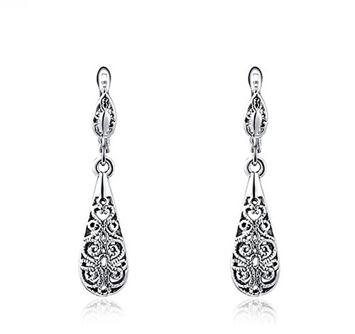 [Vintage platinum blackening hollow out Teardrop Earrings for women] (One Night Stand Costume For Girls)
