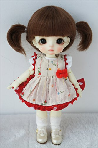 Mohair Brown Light (Wigs Only JD203 5-6inch 13-15cm Twin Pony Mohair Doll Wigs 1/8 Lati Yellow bjd Accessories (Light Brown))