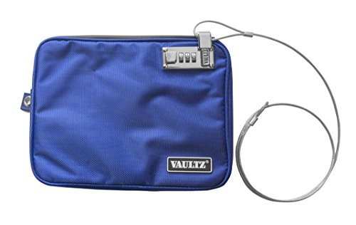 Vaultz Locking Pool Pouch with Tether, Medium, 7.5 x 9 Inches, Blue (VZ00724) (Ideastream Vaultz Cash Box)