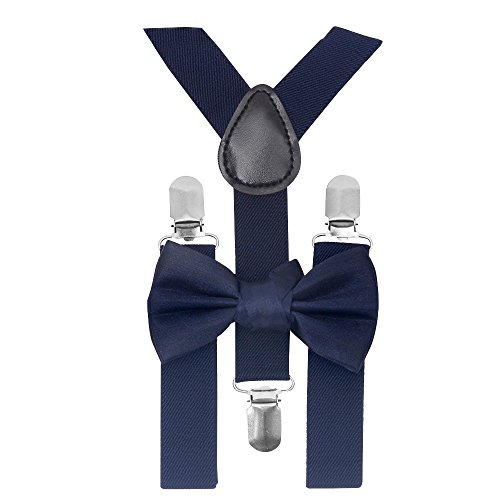 ZUUC Kids Boys Girls Toddler Tuxedo Bow Tie And Suspenders Set-With Elastic Adjustable Multi Color Clip-on Suspender (Navy (Toddler Blue Tuxedo)