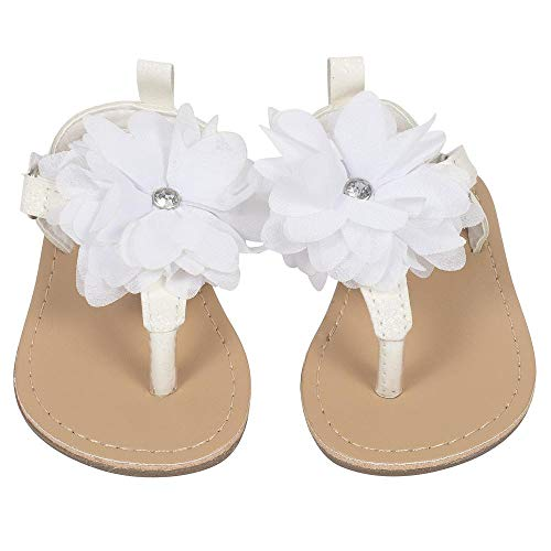 Gerber Baby Girls Hard Sole Glitter Thong Sandal with Chiffon Flower, Iridescent, 5 M US Toddler' -