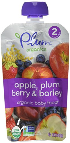 (Plum Organics Stage 2 Fruit & Grain - Apple, Plum Berry & Barley - 3.5 oz - 6 pk)
