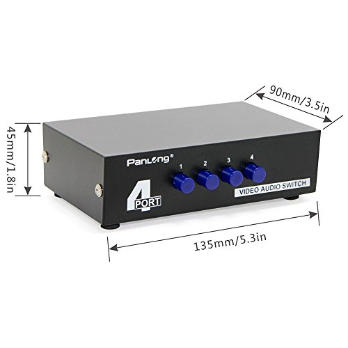 Panlong 4Way AV Switch RCA Switcher 4 In 1 Out Composite Video LR