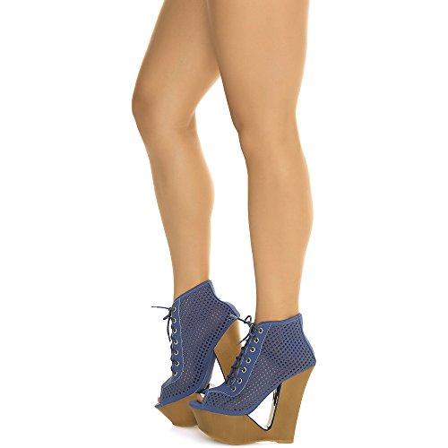 Scarpe Da Donna Laura-05 Tacco Alto Con Zeppa Bootie Casual Con Zeppa Blu