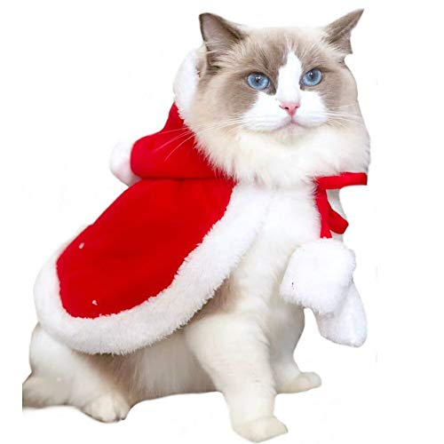 Stock Show Dog Cat Christmas Santa Claus Cloak Costume with Hat Pet Winter Fleece Super Cute Hoodie Poncho Puppy Hooded Coat Warm Xmas Clothes Party Holiday Dressup Pet Apparel for Small Dogs Cats