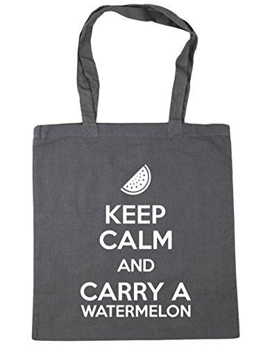 HippoWarehouse Keep calm and carry a sandía bolsa de la compra bolsa de playa 42cm x38cm, 10litros gris grafito