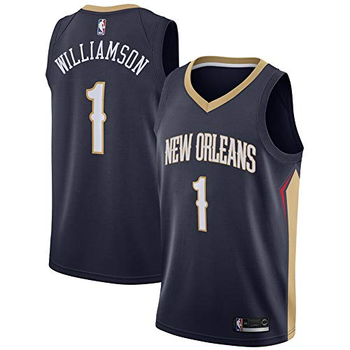 Men's New Orleans Pelicans #1 Zion Williamson Navy 2019 NBA Draft First Round Pick Swingman Jersey - Icon Edition L