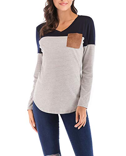 Noir et Shirts Rayure Blouse Longues pissure Tops Jumpers Automne Pulls Fashion Hauts Casual Manches Femmes Slim T Shirts Tees Printemps Ft4HHq
