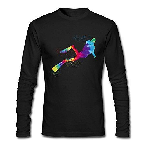 Oduwya Qxacm Scuba Diving Sport Art Colorful Watercolor Men Cotton Athletic Long Sleeve T-Shirt Crew Neck ()