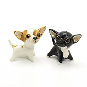 Chihuahua Short Haired Dog Ceramic Figurine Salt Pepper Shaker SH00015 Ceramic Handmade Dog Lover Gift Collectible Home Decor Art and Crafts