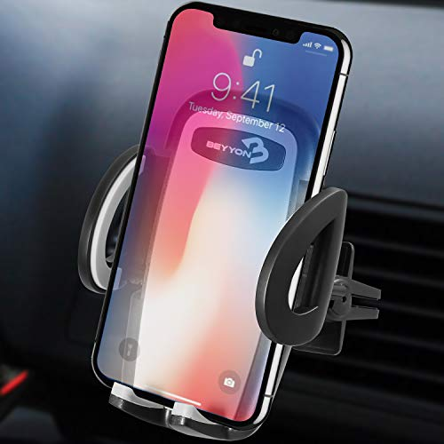 BEYYON Phone Holder for Car Universal Air Vent Cell Phone Mount Cradle with Auto-Clamping for iPhone X 8/8s 7 7 Plus 6s Plus 6s 6 SE, Galaxy S8 Edge S7 S6, Huawei, LG Nexus, Sony, Nokia and More