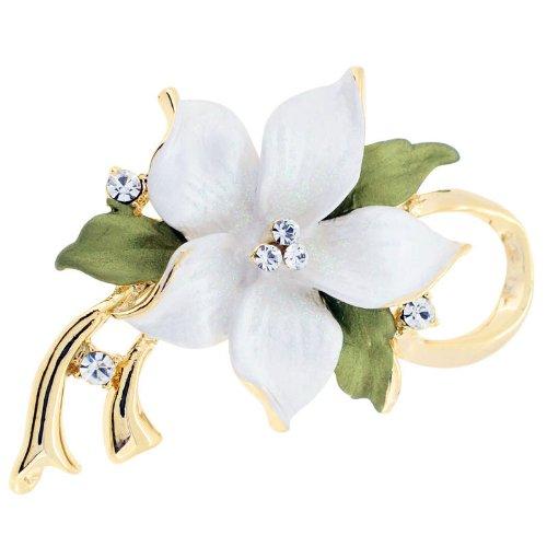Swarovski Crystal Star Brooch - White Poinsettia Christmas Star Flower Swarovski Crystal Pin Brooch and Pendant