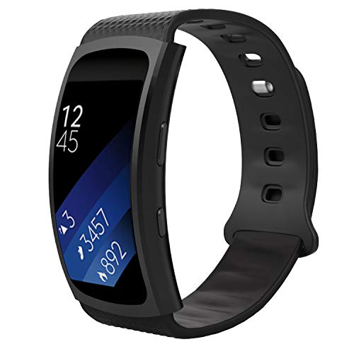 MoKo for Samsung Gear Fit2 / Gear Fit2 Pro Watch Band, Soft Silicone Replacement Sport Band for Samsung Gear Fit 2 SM-R360 / Fit 2 Pro Smart Watch, Black (Fits 5.90-8.38)