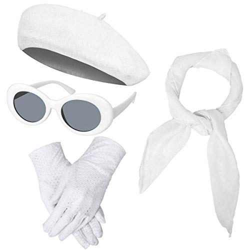 Women Girls French Themed Party Beret Hat Chiffon Scarf Gloves Retro Oval Sunglasses Fancy Dress Costume Accessories Set (White)