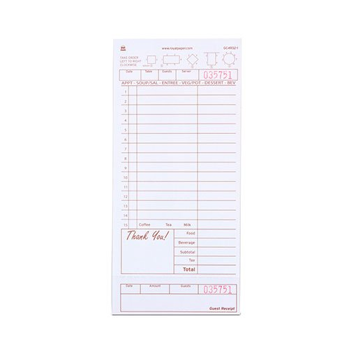 Royal Tan Guest Check Board, 1 Part Loose with 15 Lines, Case of 8 Packs (Write Board Lightweight Combination)