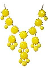 Jane Stone Bubble Beaded Y Shape Bib Necklace Chunky Multiple Layers Drop Pendant Womens Jewelry Yellow(Fn0508-Yellow)
