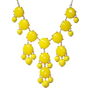 Jane Stone Statement Bubble Beaded Collar Bib Necklace Chunky Multiple Row Dangle Pendant Womens Jewelry Yellow(Fn0508-Yellow)