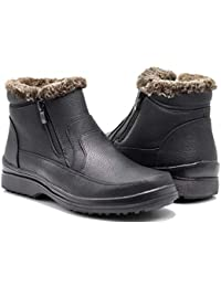 RU2N Men's Winter Cold Weather Snow Boots with Fur Fleece Lining Slip On Shoes