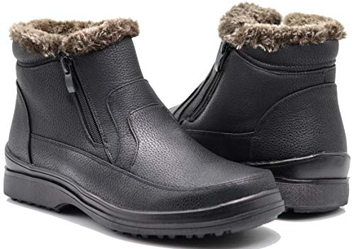 Enzo Romeo RU2N Men's Winter Cold Weather Snow Boots with Fur Fleece Lining Slip On Shoes (10.5 D(M) US)