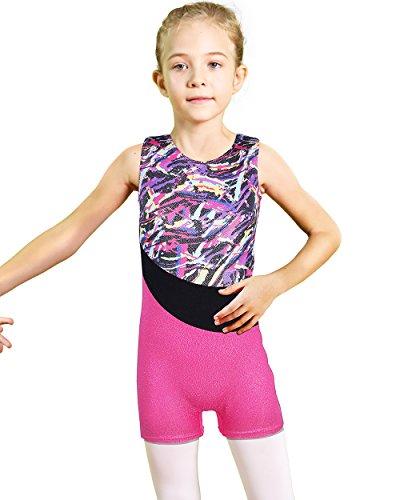 BAOHULU Toddler Girls Gymnastics Leotards Blue Lighting Fancy Sparkle Biketards with Shorts (Ribbon Multicoloured, 150(10-11 Years))