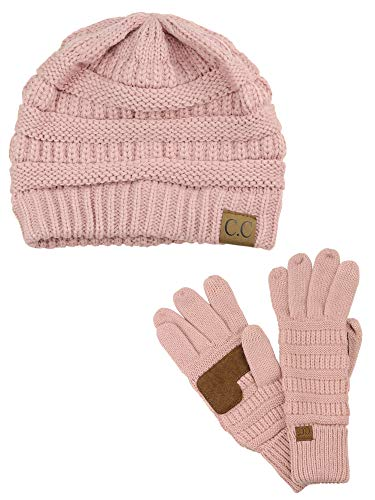 C.C Unisex Soft Stretch Cable Knit Beanie and Anti-Slip Touchscreen Gloves 2 Pc Set, Indi Pink