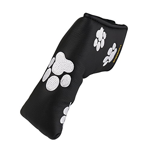 PINMEI One Putt Dog Paw Golf Putter Headcover Synthetic Leather Magnetic Closure Putter Cover for Scotty Cameron Odyssey Blade Taylormade Ping (Dog Paw)