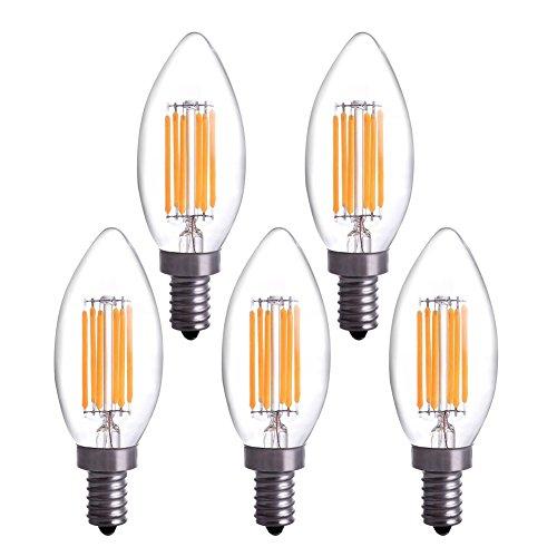 YT 5pcs/lot E12 LED Filament Candle Light Bulb 6W To Replace Incandescent 60W Bulb Soft White 2700K 360 Degree Beam Angle Equivalent YT-C35-09