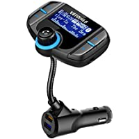 Vetomile Wireless In-Car Bluetooth FM Transmitter with 1.7 inch Display Screen and Dual USB Charging Ports, Hands-Free Calling for IPhone, IPad, MP3/MP4 (Black)