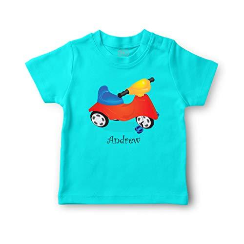 Personalized Custom Kid's Bike Cotton Short Sleeve Crewneck Boys-Girls Toddler T-Shirt Jersey - Aqua Blue, 5/6T