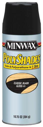Minwax 314950000 PolyShades - Stain & Polyurethane in 1 Step Aerosol, 10.75 ounce, Classic Black, Gloss (One Aerosol)