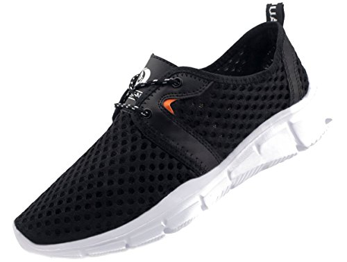 JUAN Men's Fitness Shoes Walking Sneaker Workout Shoes mesh Running Shoes Athletic Lightweight Casual Sports Shoes (Men,45EU/11US, Black T-039)
