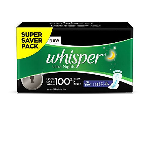 Whisper Ultra Overnight Sanitary Pads XL Wings – 30 Piece Pack