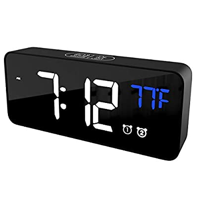 "Feezen Digital Alarm Clock with Rechargeable Battery, 6"" LED Display, Dual Alarms, Snooze, Full Range Brightness, Temperature Detection, 13 Alarm Chimes,Adjustable Alarm Volume, Black (AC100)"