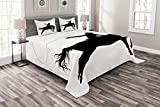 Lunarable Cartoon Bedspread Set Queen Size, Silhouette of Cowboy Riding Horse Rider Rope Sport Country Western Style Art, Decorative Quilted 3 Piece Coverlet Set with 2 Pillow Shams, Black and White