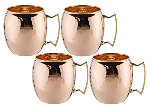 Old Dutch International, Purveyors of the ORIGINAL MOSCOW MULE MUG, 100% Pure Copper, Unlined Hammered Moscow Mule Mug, 16-Ounce, Set of 4 (Beer In Copper Mug)