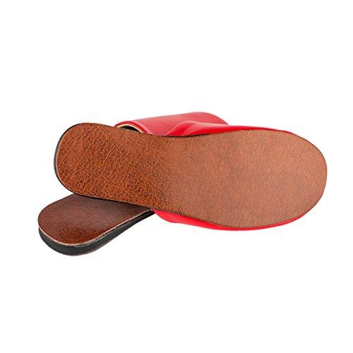 Haisum Pantofole Morbido da Red Pelle Ciabatte Viaggio casa per Interno Finta Donna Chiuse Antiscivolo Rn4r1Rv