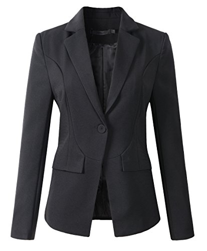 Womens Formal One Button Boyfriend Blazer Jacket (1513 Black, L)