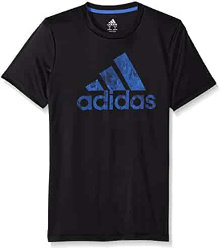adidas Big Boys' Short Sleeve Logo Tee Shirt, Black, Small