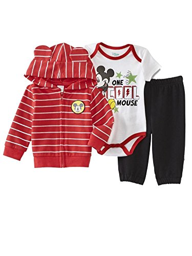 Disney Baby Boys' Mickey Mouse 3 Piece Hoodie, Bodysuit T-Shirt, Pant Set, Chinese Red, 3-6 Months -