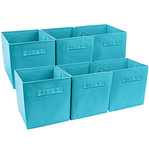 Sorbus Foldable Storage Cube Basket Bin (6 Pack, Aqua)