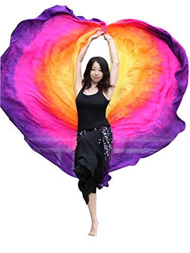 Winged Sirenny 2pcs Half Circle Belly Dance 8 mommes Double Veils, 2.7mx1.1m(3